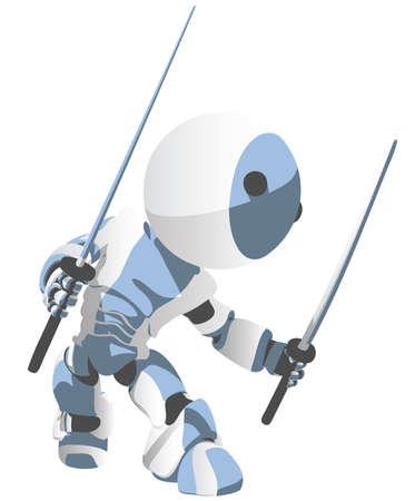 samurai sword: Toon Robot Ninja ready to attack.