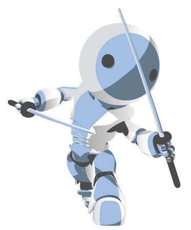 Toon robot ninja ready to attack.