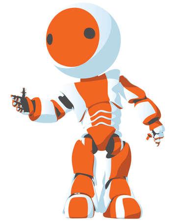 invitando: Un robot de dibujos animados de color naranja brillante que se plantean en una invitaci�n, de manera atractiva.