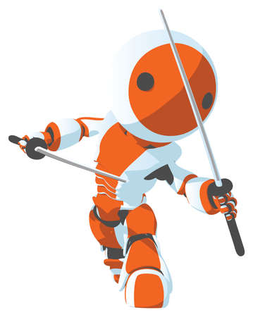 A cartoon bright white and orange robot in a ninja defense pose.  Vector