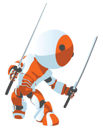 A cartoon bright white and orange robot in a ninja defense pose.  Illustration