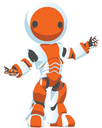 cybernetics: A bright white and orange robot presenting an idea in an attractive manner.  Illustration