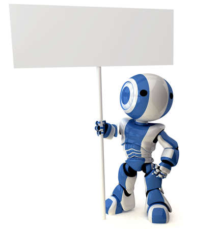A glossy robot standing holding a sign. Area on sign left blank for your own design. Stock Photo - 2774320