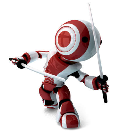 martial art: A glossy ninja robot walking toward the viewer and posed defensively with two katana swords. Stock Photo