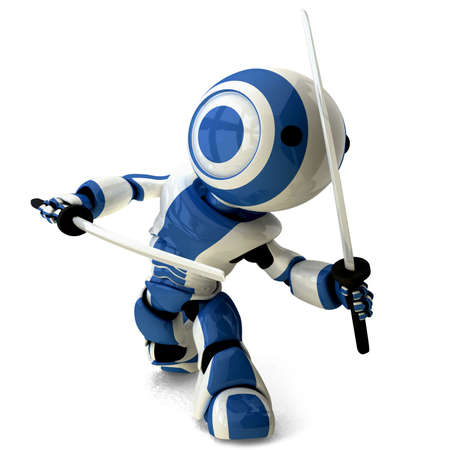 karate: A glossy ninja robot walking toward the viewer and posed defensively with two katana swords. Stock Photo