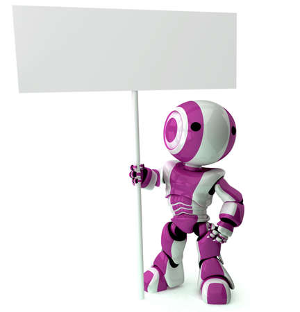 A glossy robot standing holding a sign. Area on sign left blank for your own design. Stock Photo - 2774321