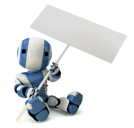 A glossy 3d robot sitting down holding a sign, which is blank for your own design.