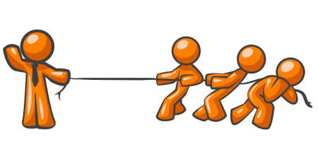 pull: An orange man holding a rope while three others pull against it, obviously no contest!