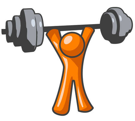 An orange man lifting weights in a great display  of strength.