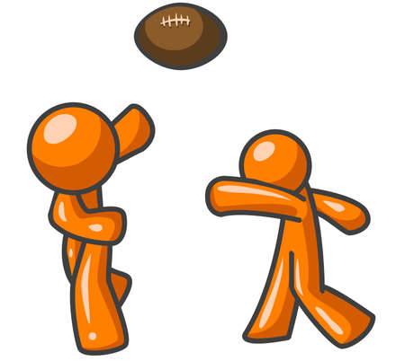 Two orange men playing football together, probably just for some freindly competition.