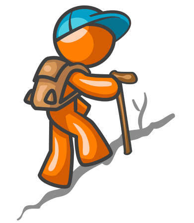man hiking: An orange man hiking up a trail for a workout.
