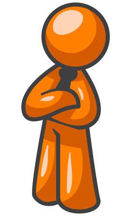 buena postura: Un hombre de pie de color naranja en una buena postura cruce sus brazos en forma profesional.