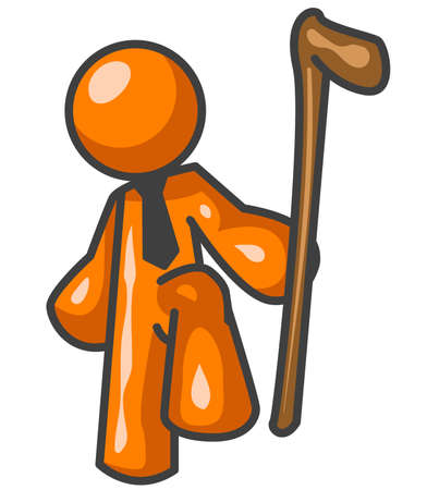 man hiking: An orange man with a tie on holding a walking stick, an authoritative pose.