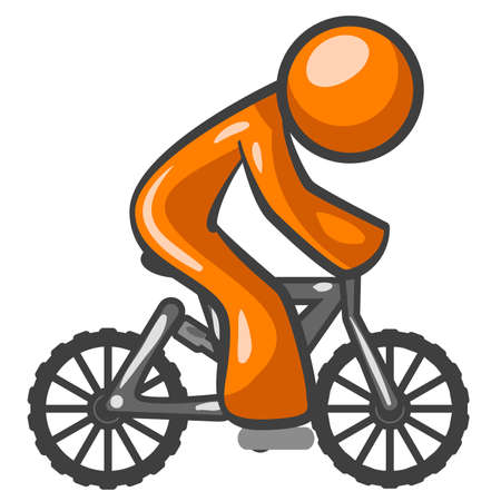 An orange man riding a mountain bike, side view, for generic purposes. Illustration