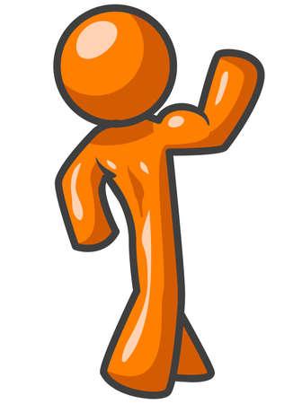 trizeps: Ein orange Mann Walkarbeit seine Muskeln mit seiner muskul�sen R�cken zum Betrachter.