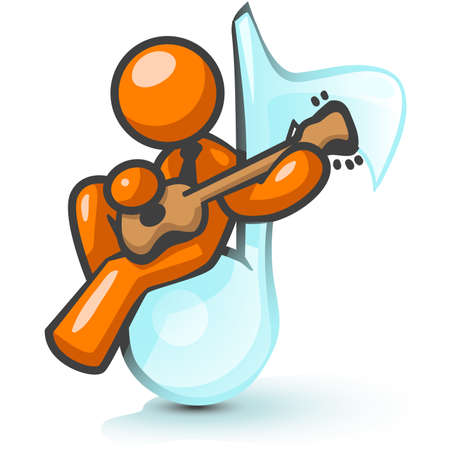 An orange man sitting on a musical note playing a guitar. Illustration