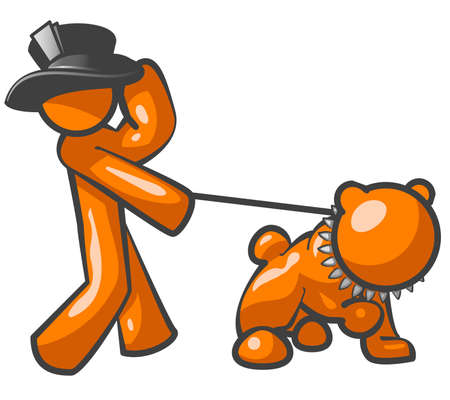 An orange man with a top hat walking a bulldog. Illustration