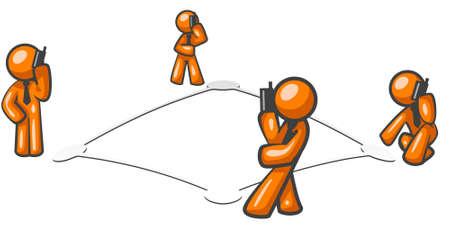 Un po 'astratto concetto di messa in rete e le comunicazioni cellulari aziendali. Archivio Fotografico - 2774343