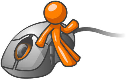 computer mouse: An orange man leaning up against a computer mouse while gesturing.  Illustration