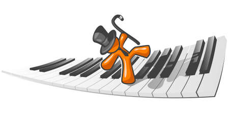An orange man dancing accross a piano as an abstract concept in musical enjoyment.