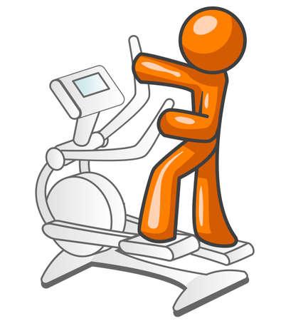 An orange man excersizing on a workout machine.