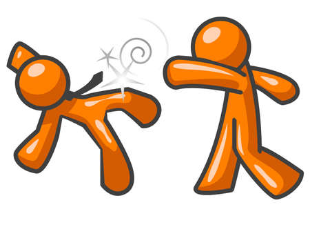 orange man: Two orange men fighting. One is punching the other. The other is falling down.