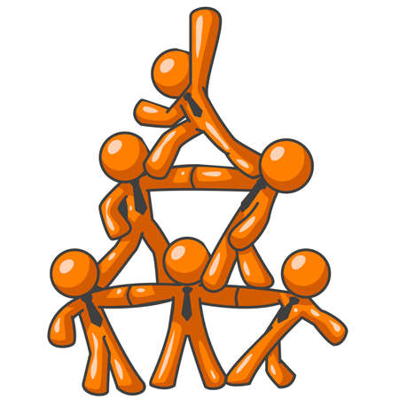 Six orange men forming a human pyramid as a symbol of cooperation, success, and teamwork.