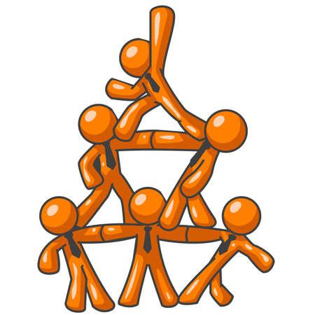 teamwork cartoon: Six orange men forming a human pyramid as a symbol of cooperation, success, and teamwork.