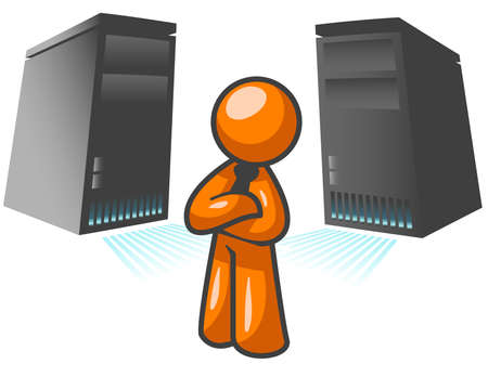 An orange man standing confident in front of two large computer servers. Stock Vector - 2774378