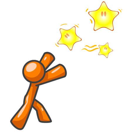 them: Un uomo di colore arancione raggiunge le stelle, mentre a caccia di loro. Potrebbe essere un concetto nel perseguimento di un obiettivo.  Vettoriali