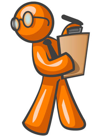 manner: An orange man walking with a clipboard, in a responsible, supervisory manner.