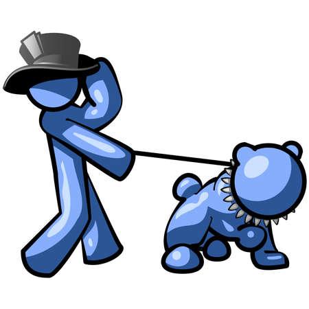 humility: Un uomo a piedi uno blu bulldog mentre indossa un cappello. Vettoriali