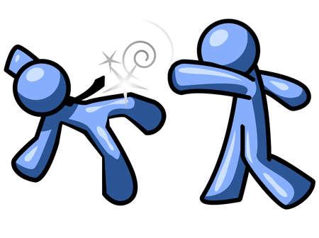 vaincu: Un homme bleu bleu de coups de poing un autre homme.