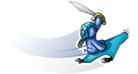 flying man: A blue man riding a flying carpet.