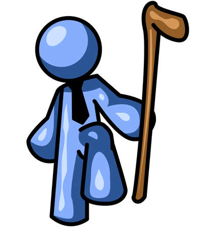 while: A blue man holding a hiking stick while staring at the viewer.