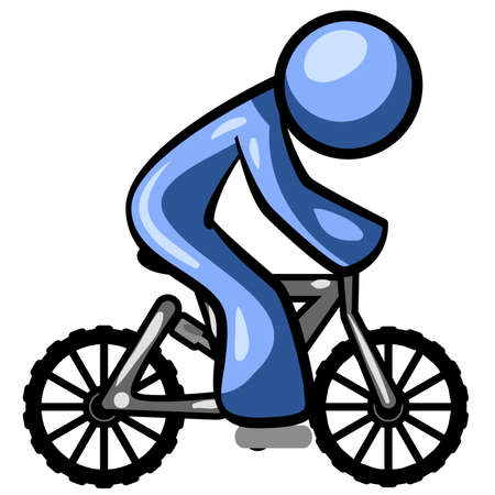 A blue man riding a mountain bike. Good concept for exercise.  Illustration