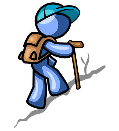 people hiking: A blue man hiking up a trail while partly staring at the viewer.