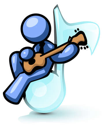 playing the guitar: A blue man sitting on a musical note while playing an instrument.