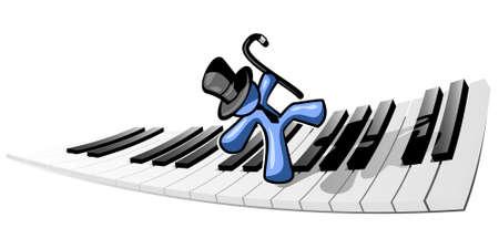 euphoric: A blue man dancing happily accross piano keys.