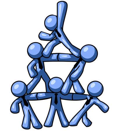 pyramide humaine: Blue hommes se tenant debout sur eux pour former une pyramide humaine. Bon concept pour le travail d'�quipe.