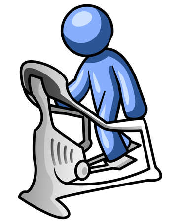 man working out: A blue man working out on an eliptical. Illustration