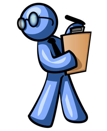A blue man walking with a clipboard while looking behind himself. He looks busy. Good supervisor concept.