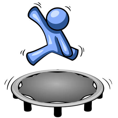A blue man jumping on a trampoline, a good concept for exercise.