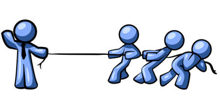 stronger: Blue Men playing tug of war. Its evident the one on the left is much stronger than his competition.  Illustration