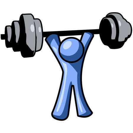 struggling: A blue man lifting weights, a good concept for exercise.