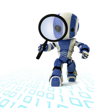 search engine optimization: A glossy robot with a magnifying glass inspecting something. A fun concept in programming and search engine optimization.