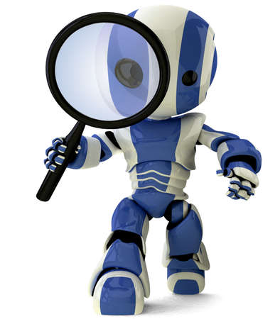 robot cartoon: A glossy robot with a magnifying glass inspecting something. A fun concept in programming and search engine optimization.