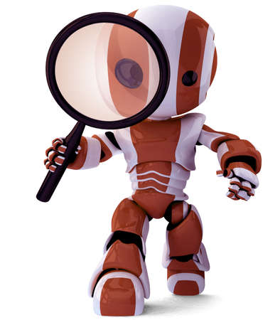 A glossy robot with a magnifying glass inspecting something. A fun concept in programming and search engine optimization. Stock Photo - 2820496