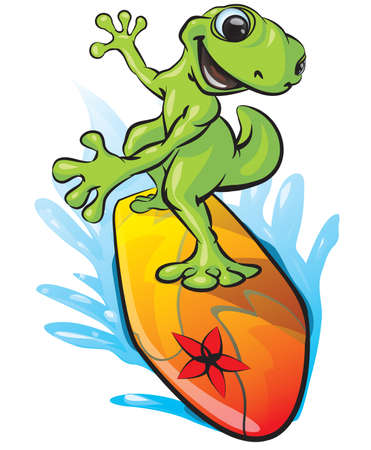 A vector illustration of a gecko surfing with the water being splashed aside under the surf board. Illustration