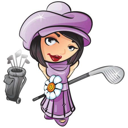teen golf: Una ilustraci�n vectorial de una ni�a de franc�s con un club de golf preparado para jugar al golf.
